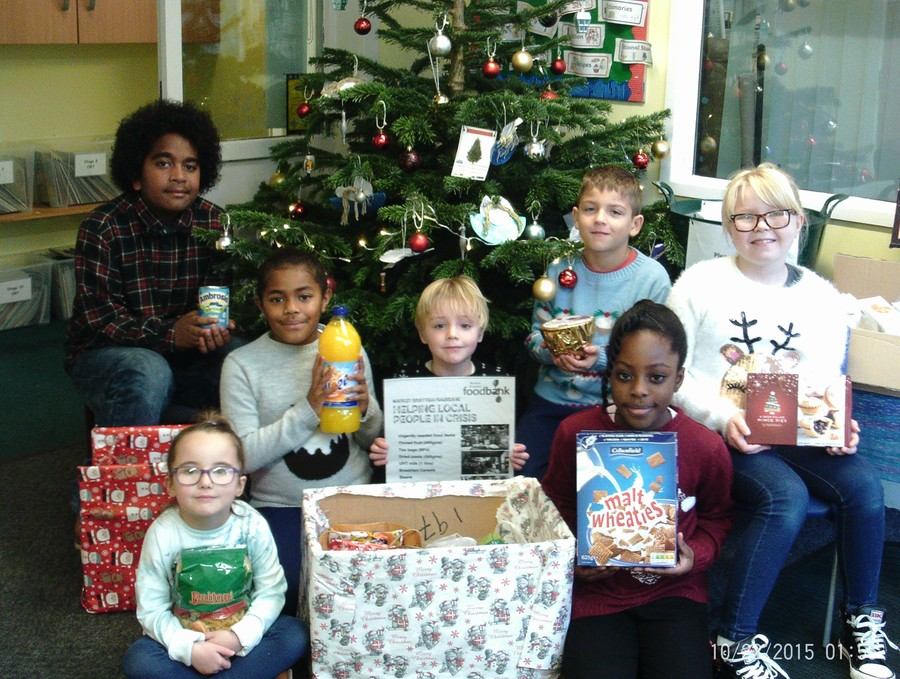 School council with our Local Foodbank donations.