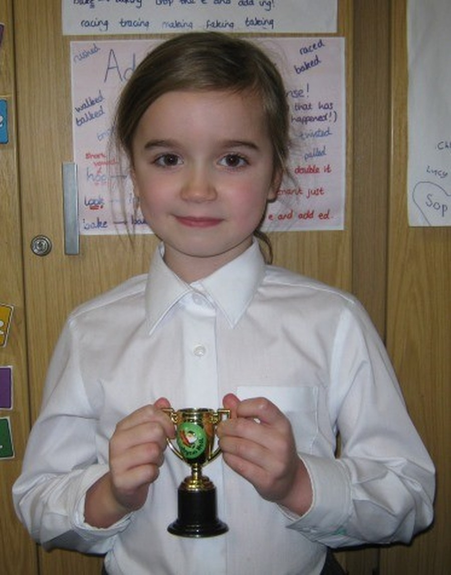 Ava with her award for French