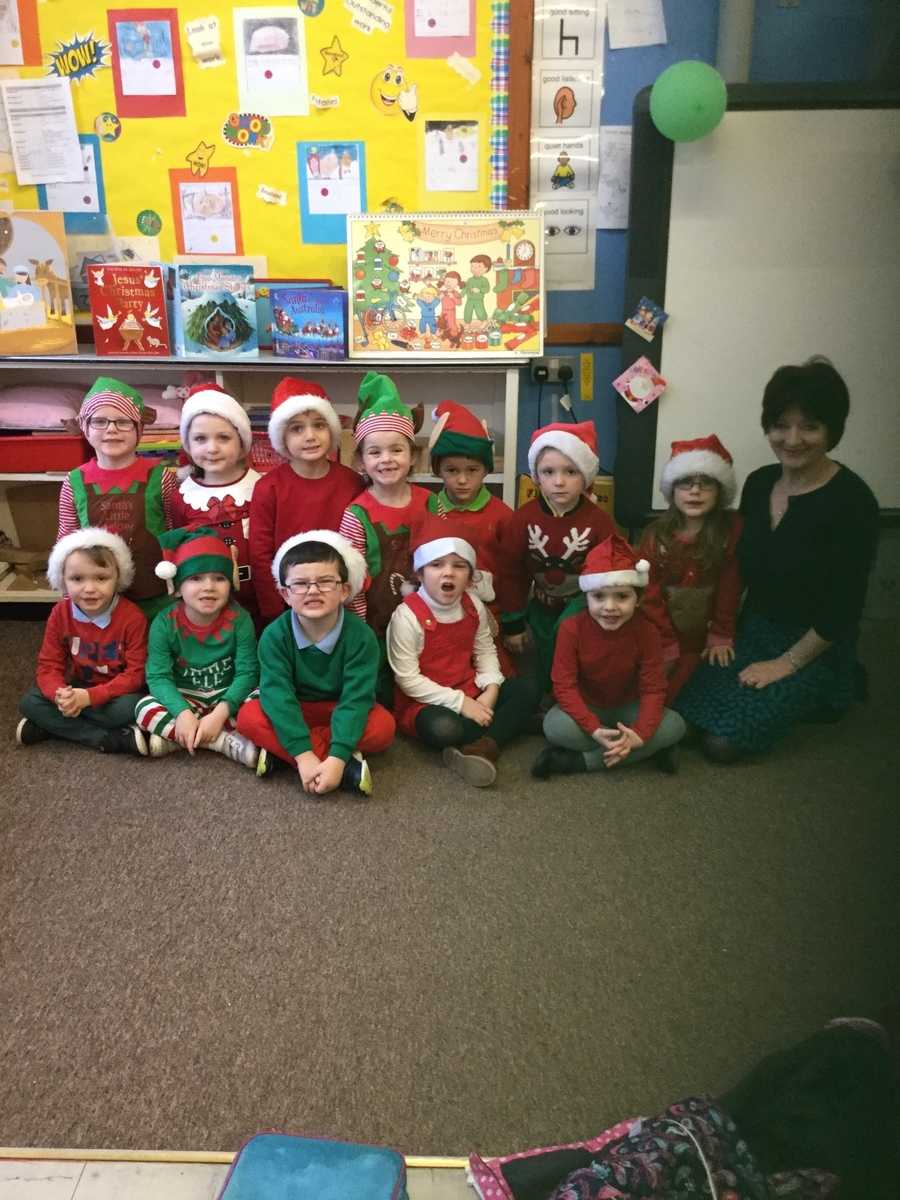 Mrs Crowley and her P1 Class (absent from photo is Shea, Darragh, Louisa and Caolain)