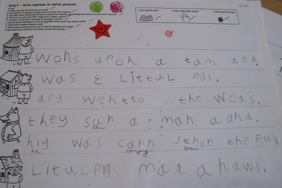 Examples of children using their phonic knowledge when writing in FS2