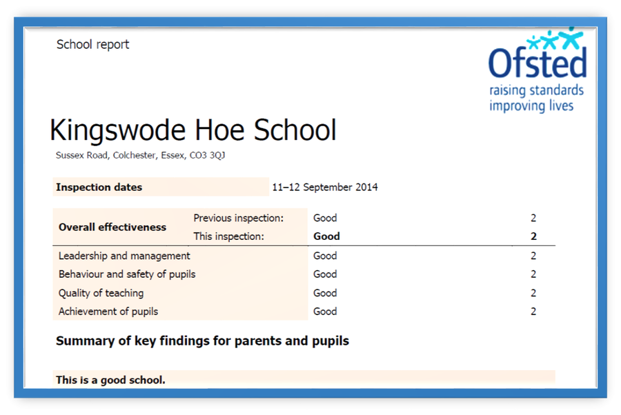 Our latest Ofsted Report September 2014