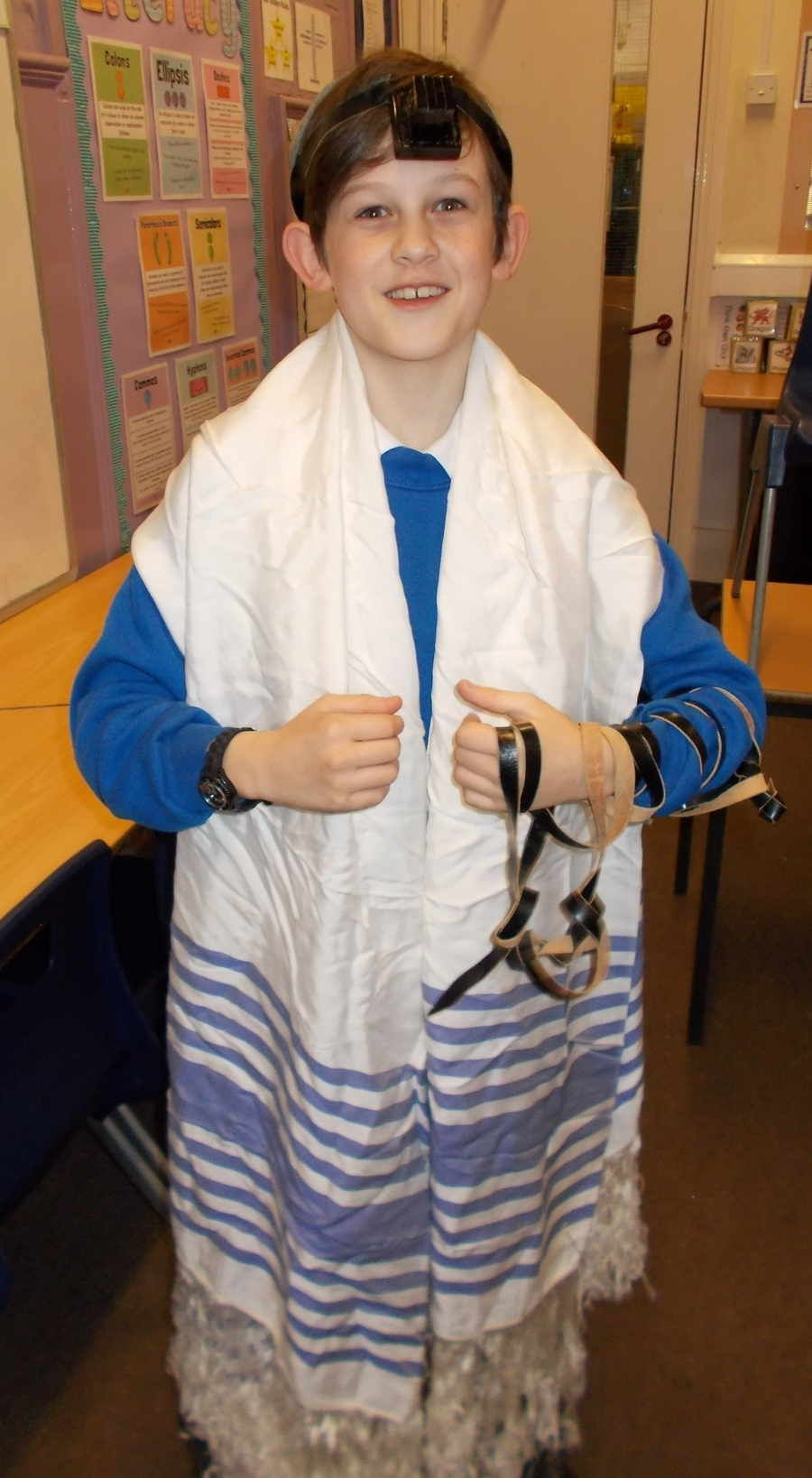 Wearing the tefillin, kippah and prayer shawl