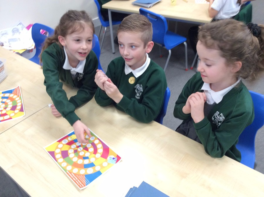 Tilly, Olivia and George competed in times tables games!