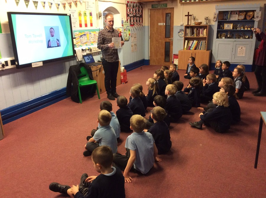 Tom is a former Elmsett Primary School pupil and had an engaging afternoon with the children inspiring them to get writing!