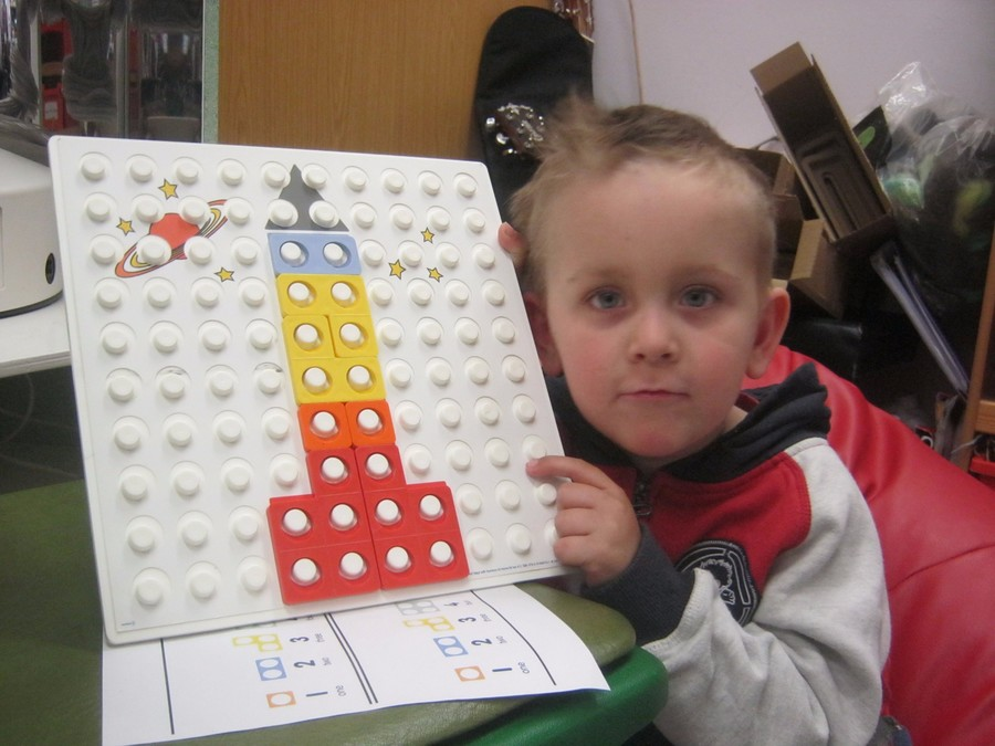 George made a rocket with numicon.