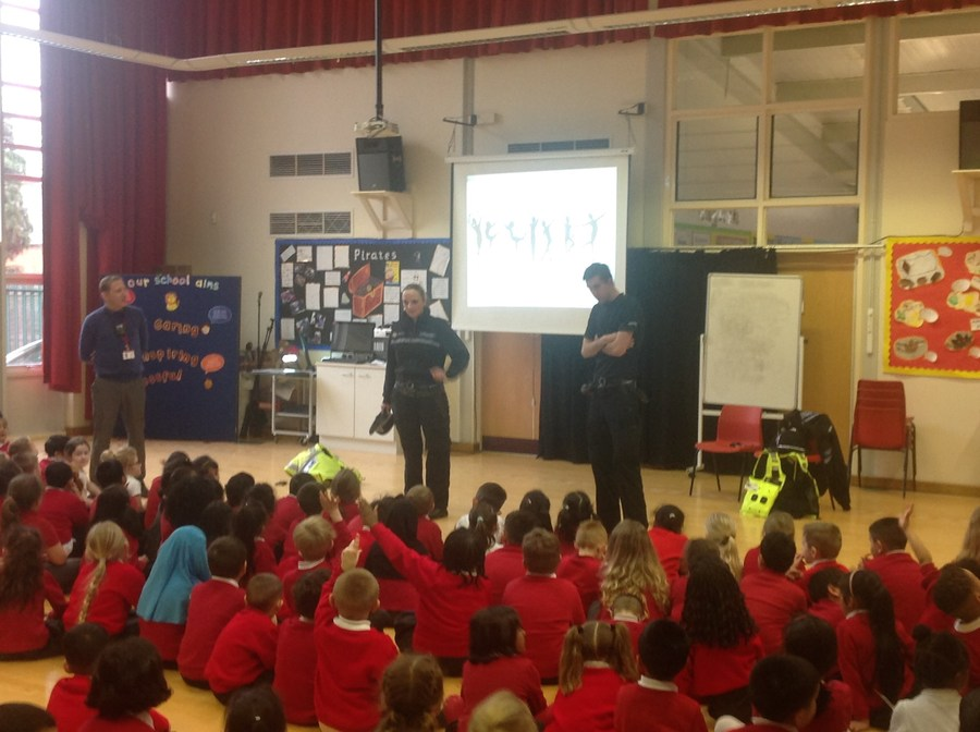 The Community Police came in to talk to the children