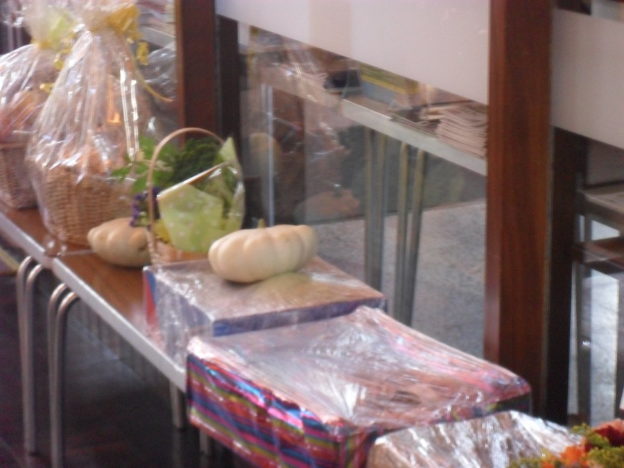 Harvest items donated and blessed at church!