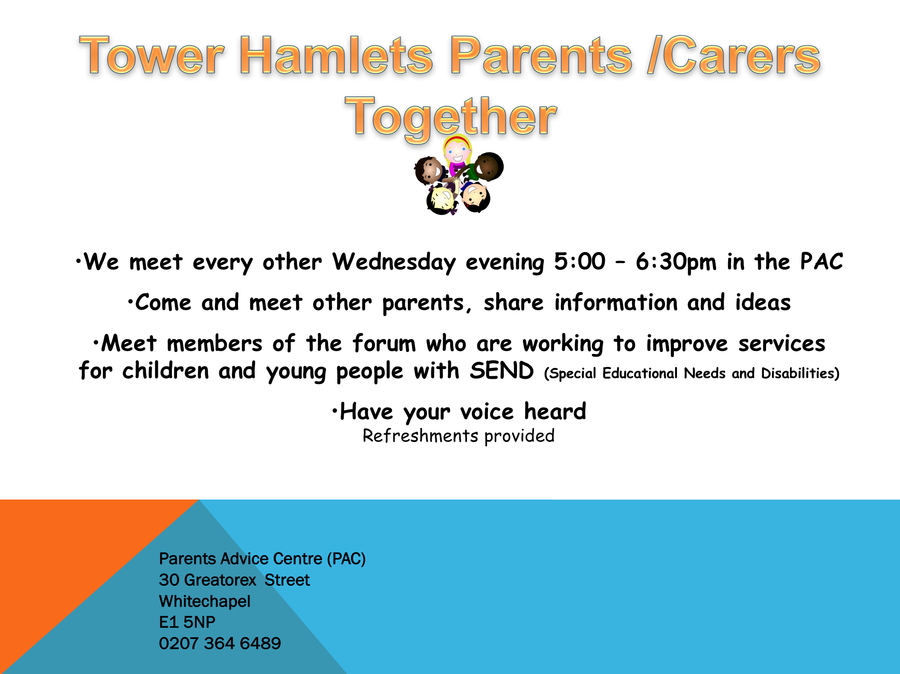Tower Hamlets sessions for parents/carers