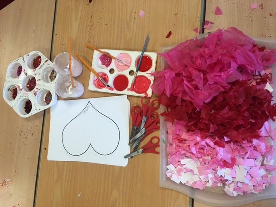 Lets get crafty! The children enjoyed shredding the tissue paper!