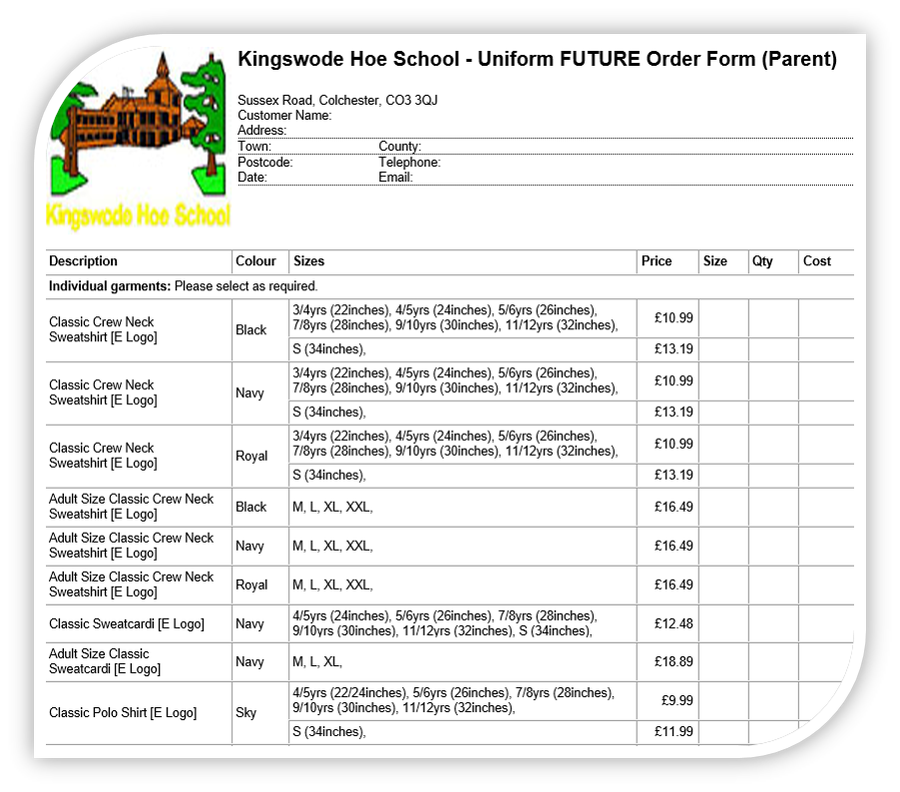 Click here for a uniform order form