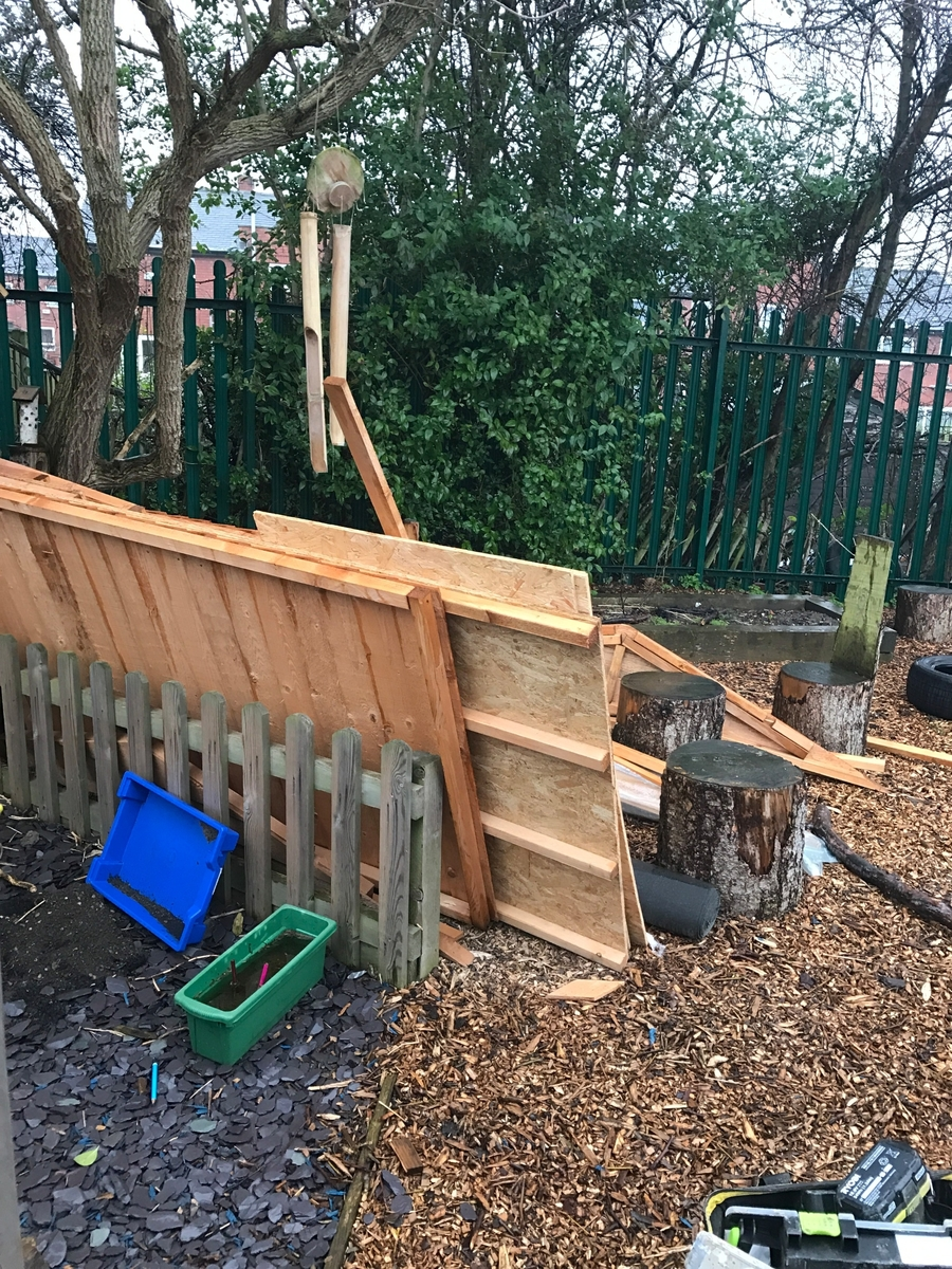 Mr Mitchell brought our new shed into the garden ready to be built. It was hard work and tipping it down with rain. Thanks Mr Mitchell!