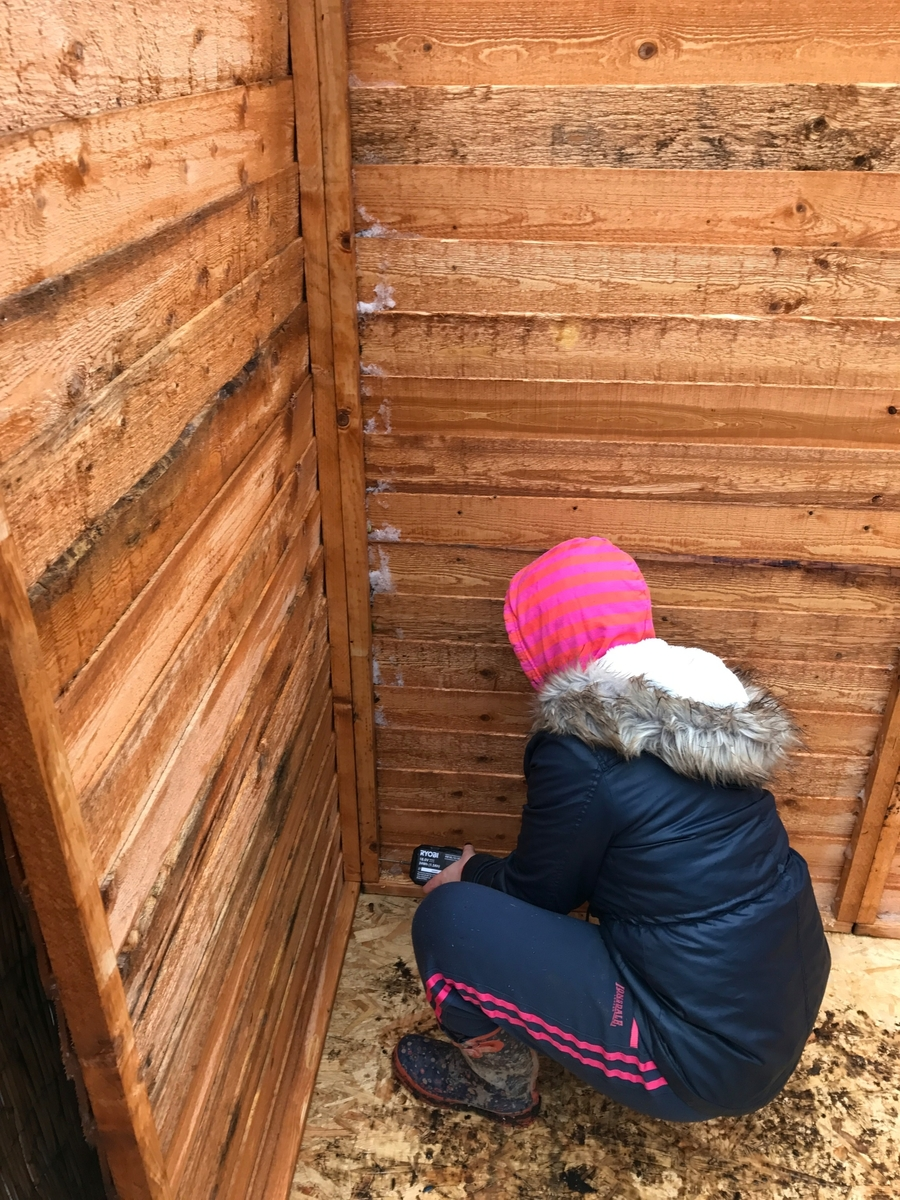 We're all learners! Mrs Parkes was hard at work learning new skills. Here's a picture of her learning how to drill holes. She is looking very muddy here!