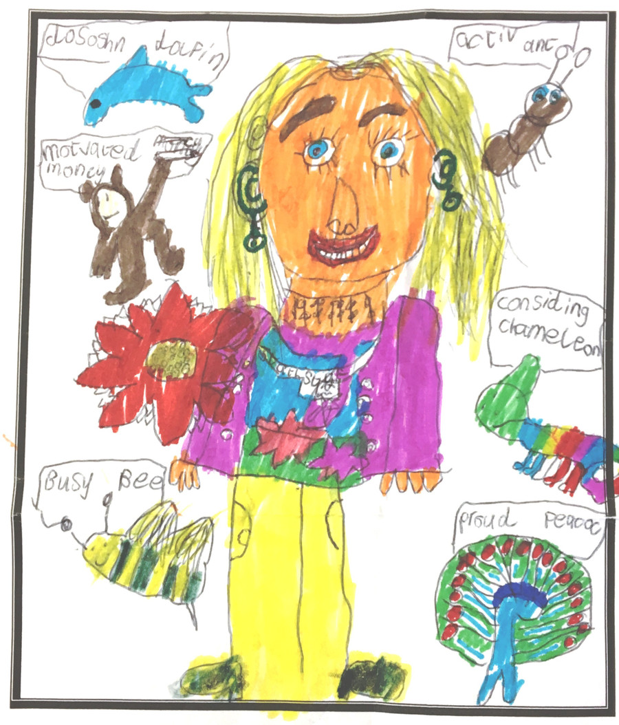 Portrait of our Headteacher by a Year 1 Child from Class 4