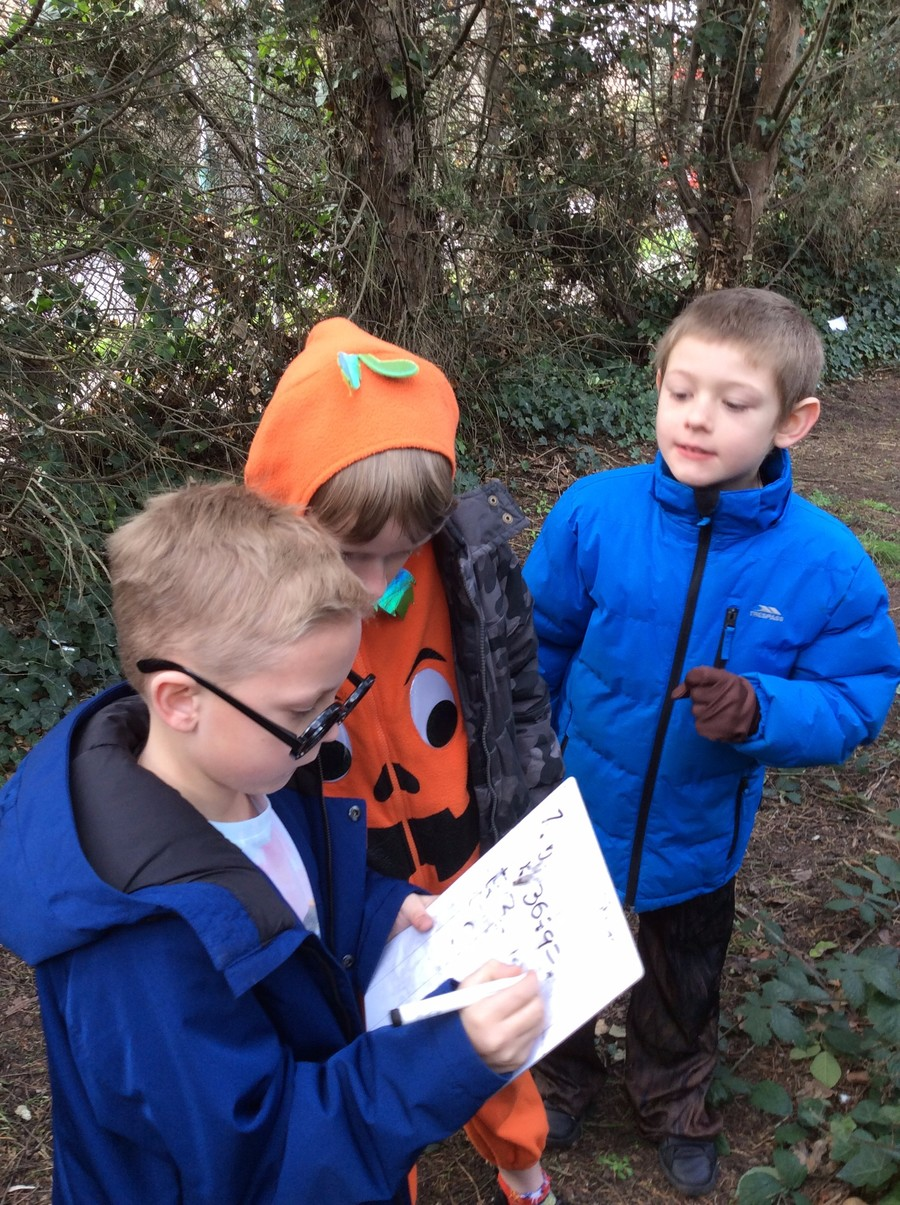 Calum, Danny and George found our outdoor Jumanji maths challeng very exciting!