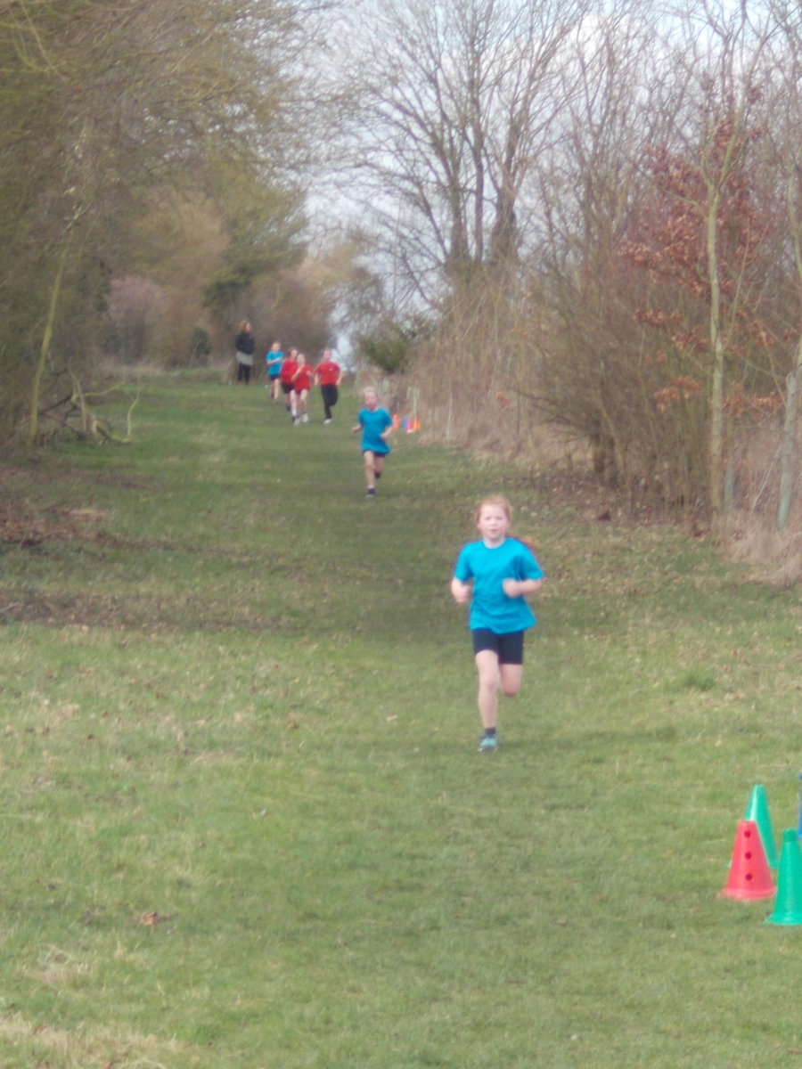 Lottie and Lexi leading the girls race