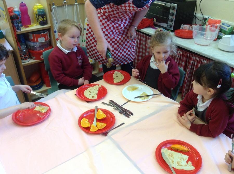 practising cutlery skills.