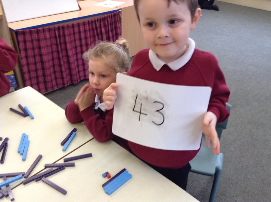 Foundation Stage working on larger numbers.