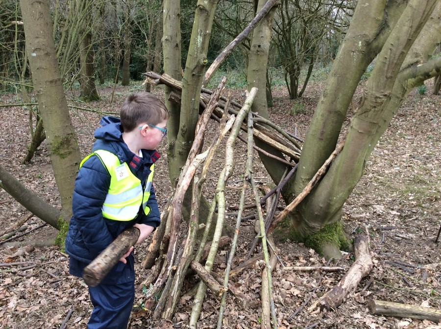 Storm Doris provided us with lots of extra branches for great den building