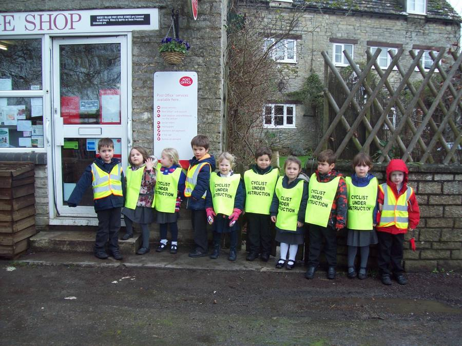The Reception class have walked down to the Oaksey Village Shop to learn about what happens in the shop