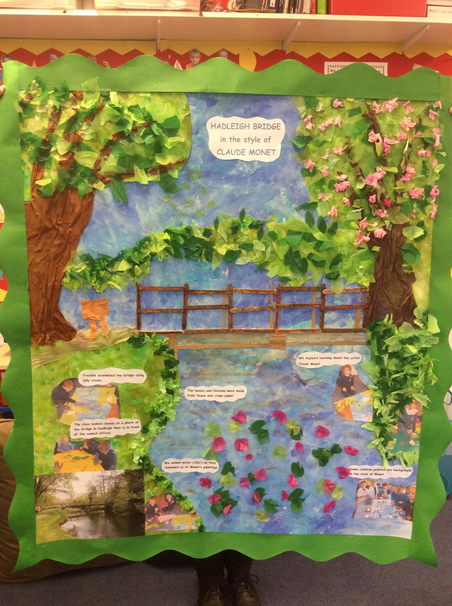 Otters have produced a collage of a bridge in Hadleigh in the style of Claude Monet.
