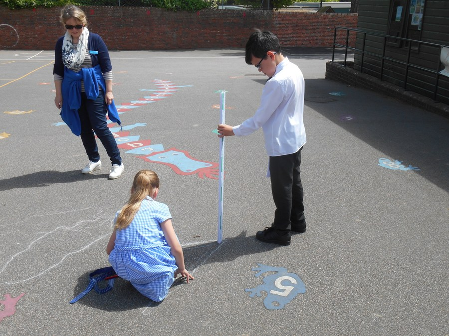Our Shadow Investigation - recording how shadows changed in Science using Maths measuring skills.
