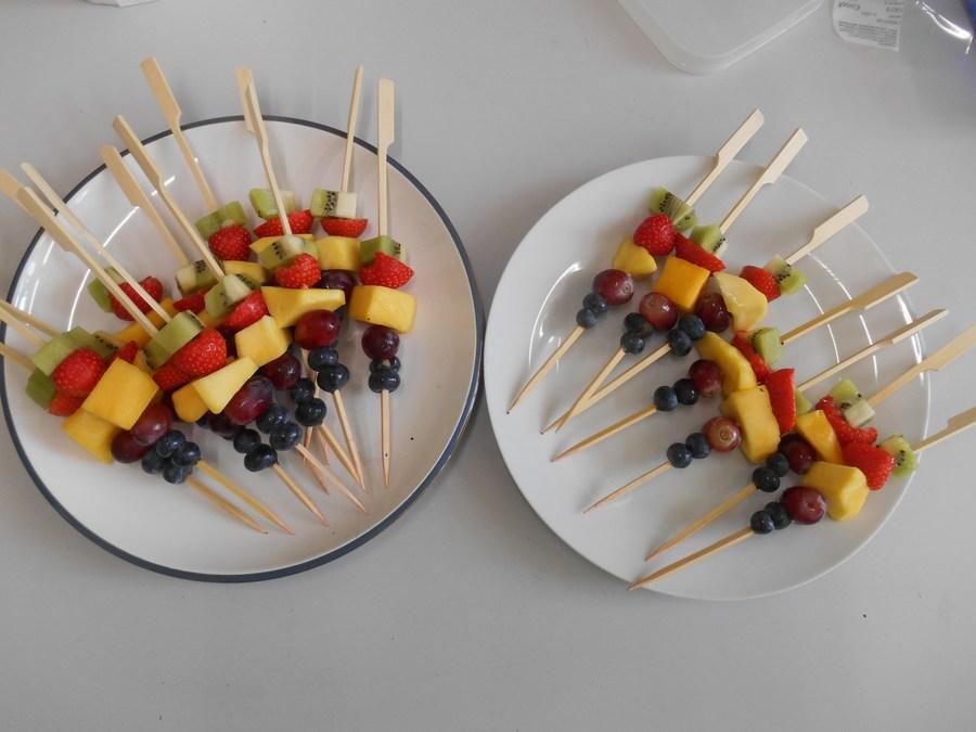 Healthy snack - rainbow fruit kebabs.