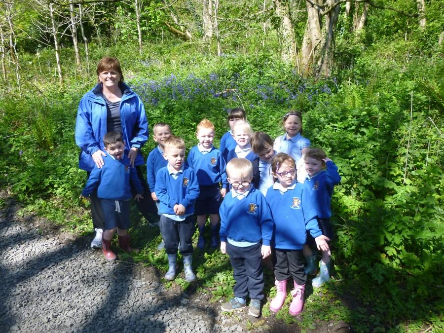 Mrs Murtagh enjoying the woods with the Nursery