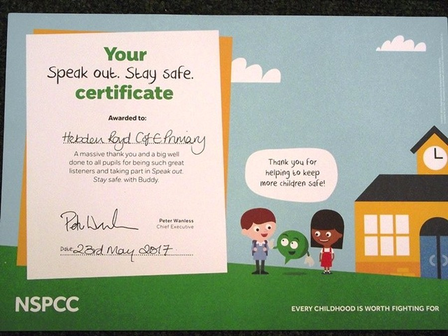 Year 5 and 6 had a visit from the NSPCC this week and we are very proud to display our certificate of support.