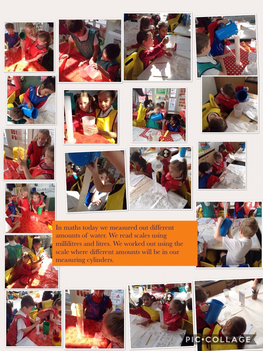 In maths this half term we are looking at volume and capacity. We practically measured different amounts of water.