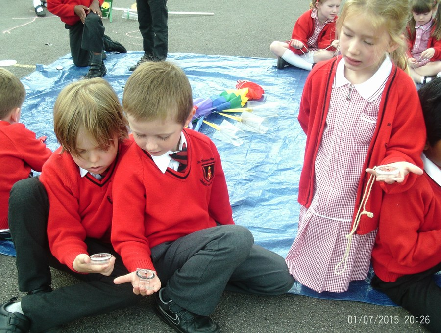 Using a compass to find the direction of the wind