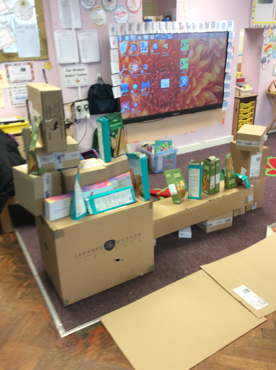 We used the boxes and engaged in deconstructive role play to build a model of a caravan