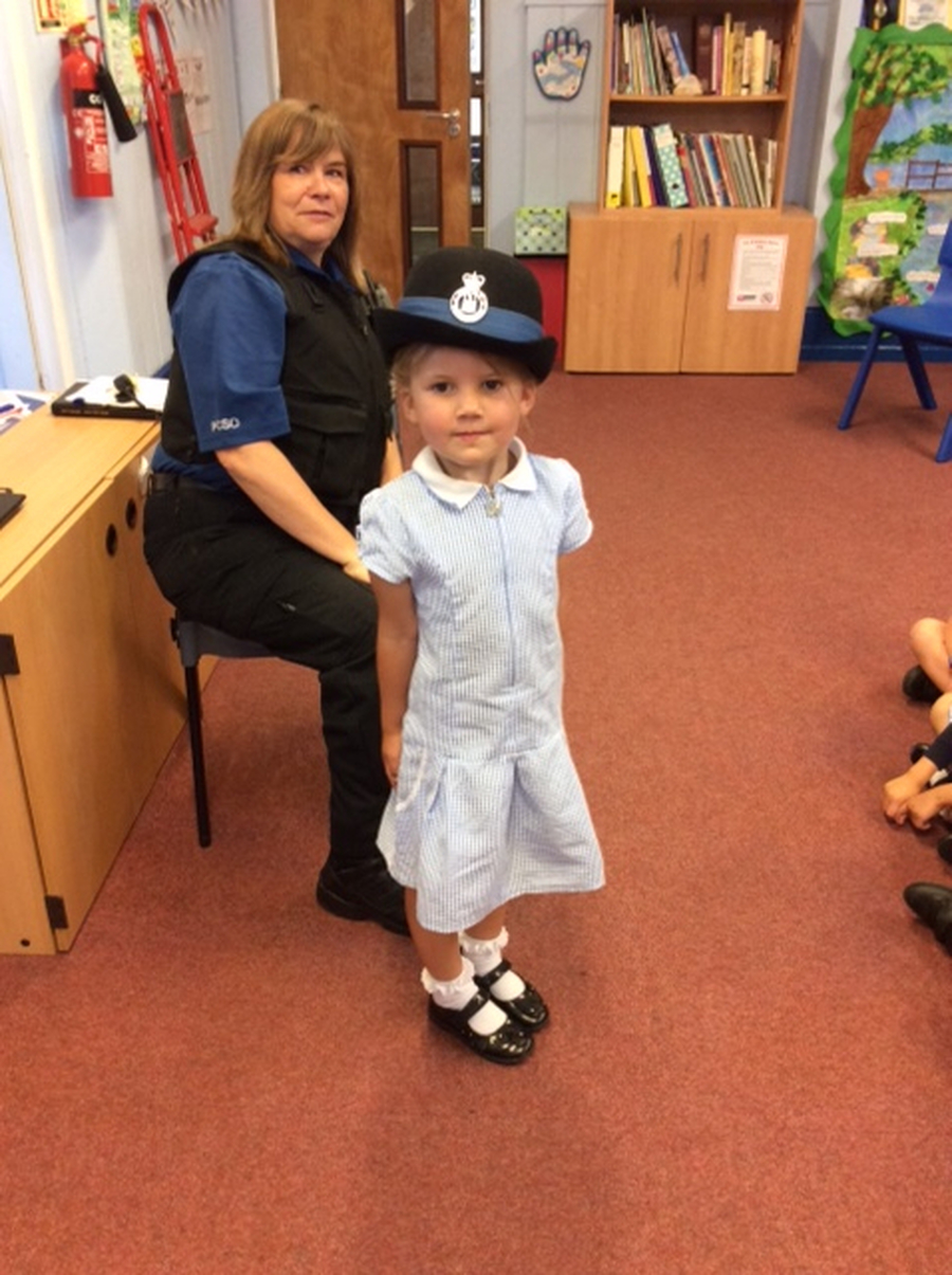 Our local PCO came to school to give us an assembly about the role of the police and how they keep us safe. Jasmine got to wear a police hat!
