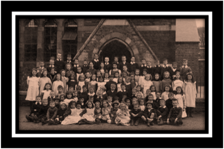 The Whole School on the Attendance Roll Photographed outside the school in 1908