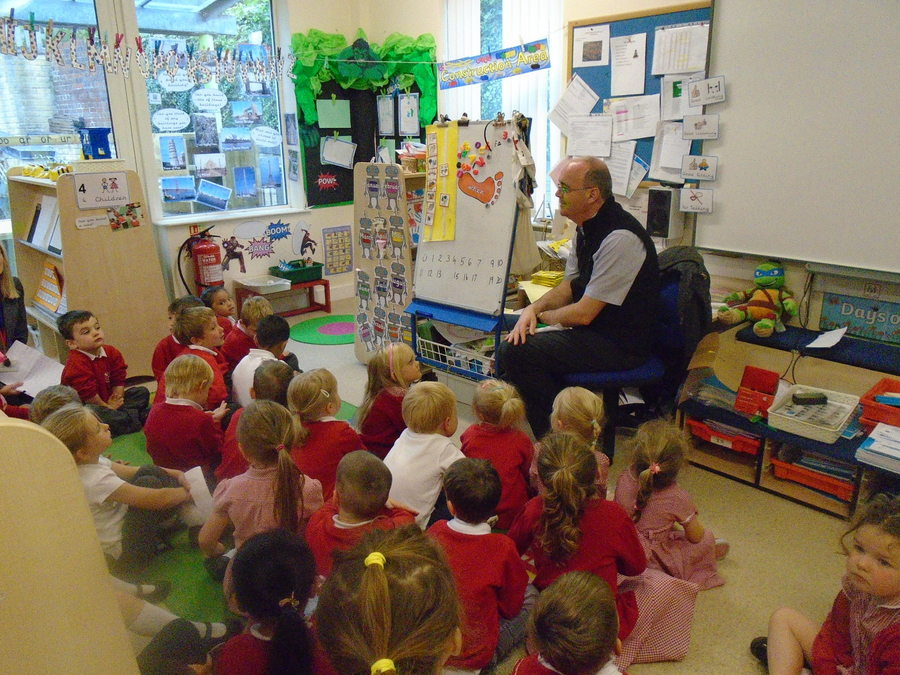 Fr. Andrew visits St. Stephen's class (Reception)