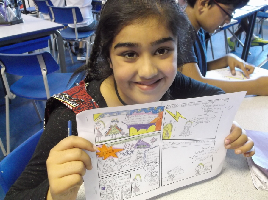 Year 5 wrote some amazing comic strip stories about King Midas and his gold.