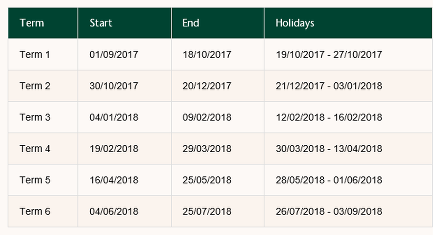 Wiltshire Term Dates 2017-2018