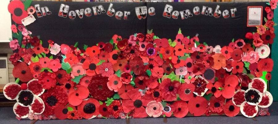 A whole school remebrance display commemorating 500 years since The Battle of the Somme.