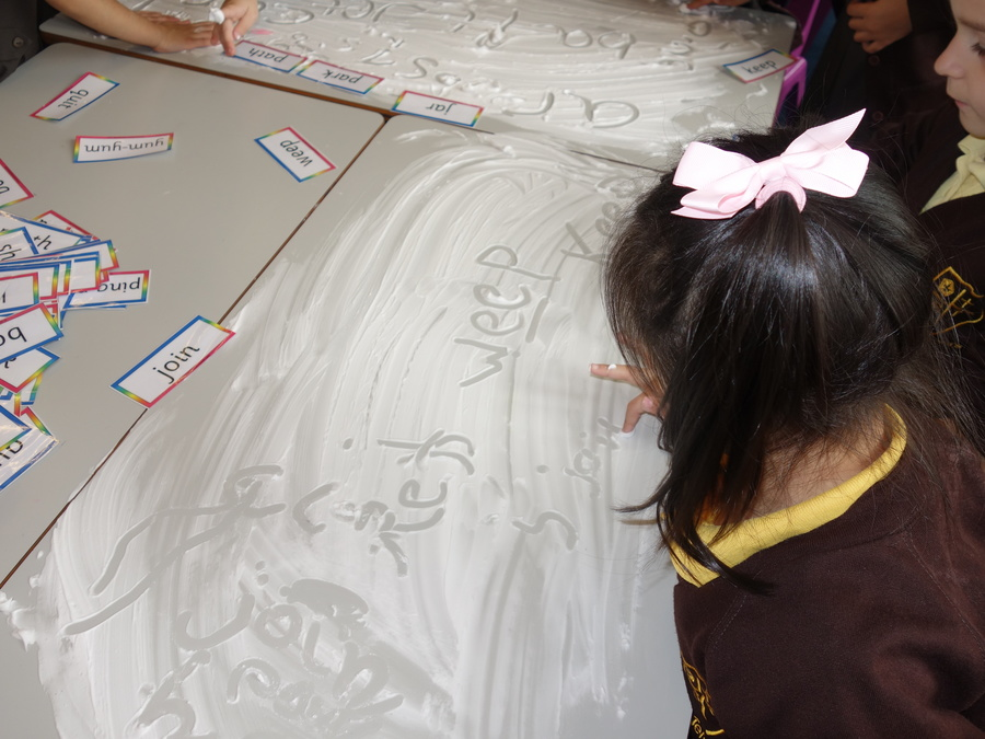 We are writing words in shaving foam.