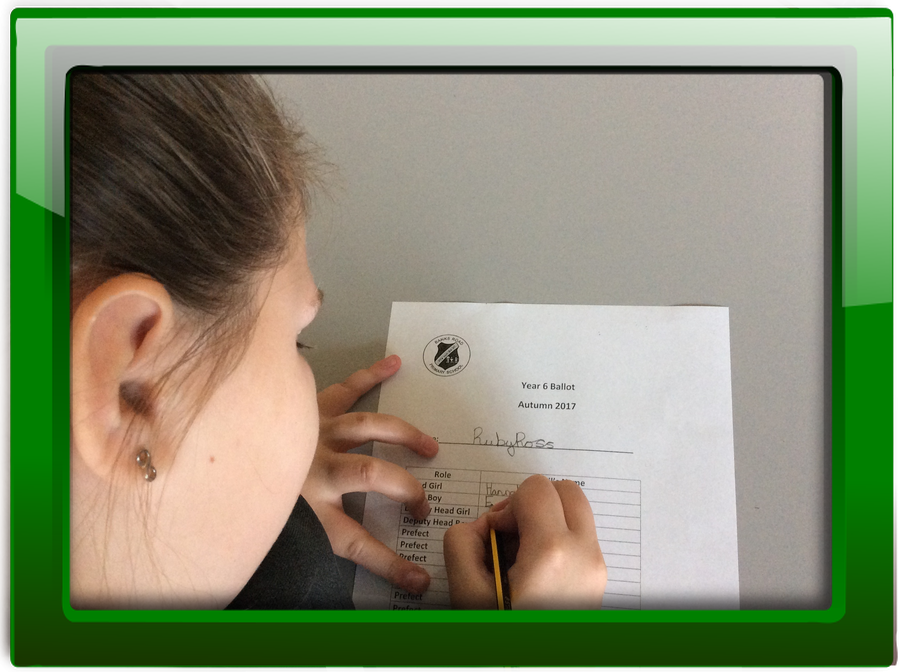 Democracy in action! Voting in the Year 6 prefect elections.