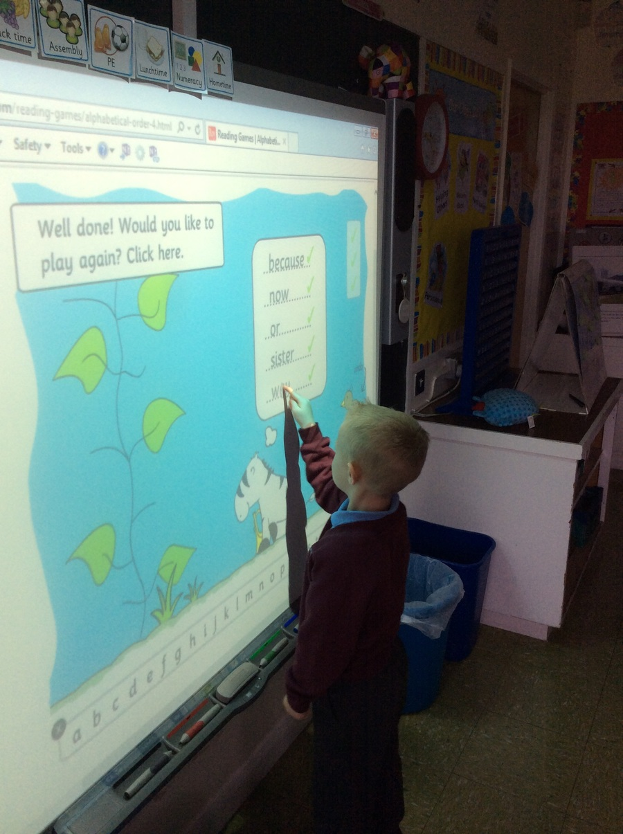 Sorting words into alphabetical order