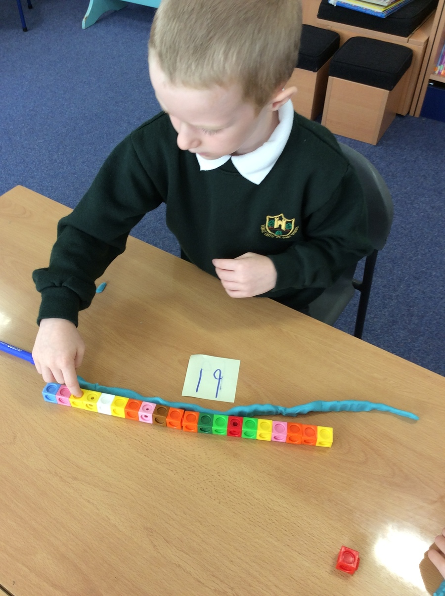 Year 1 children have been learning to measure snakes using cubes.