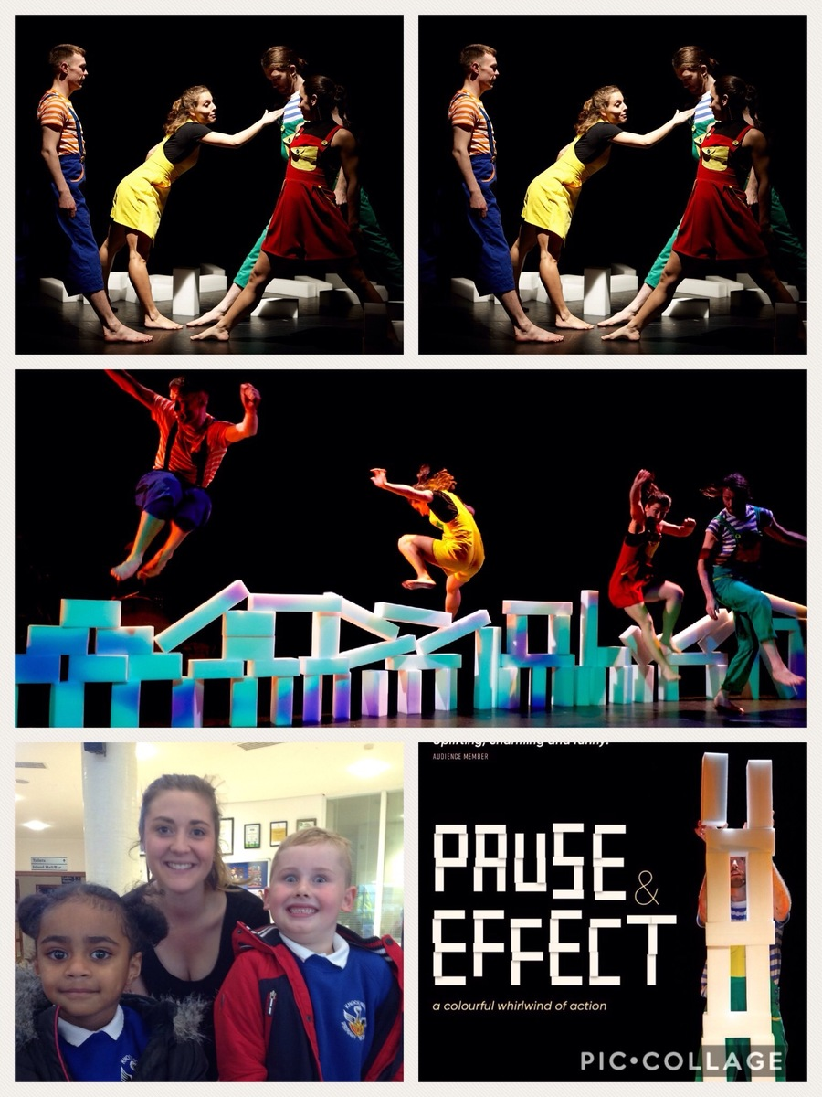 KS1 visited the Island Arts Centre to watch Pause & Effect. The playful antics convey important messages of friendship, competition, understanding, sharing and communication.