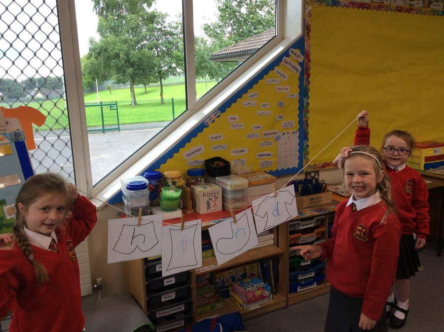 Look at our washing line with letters