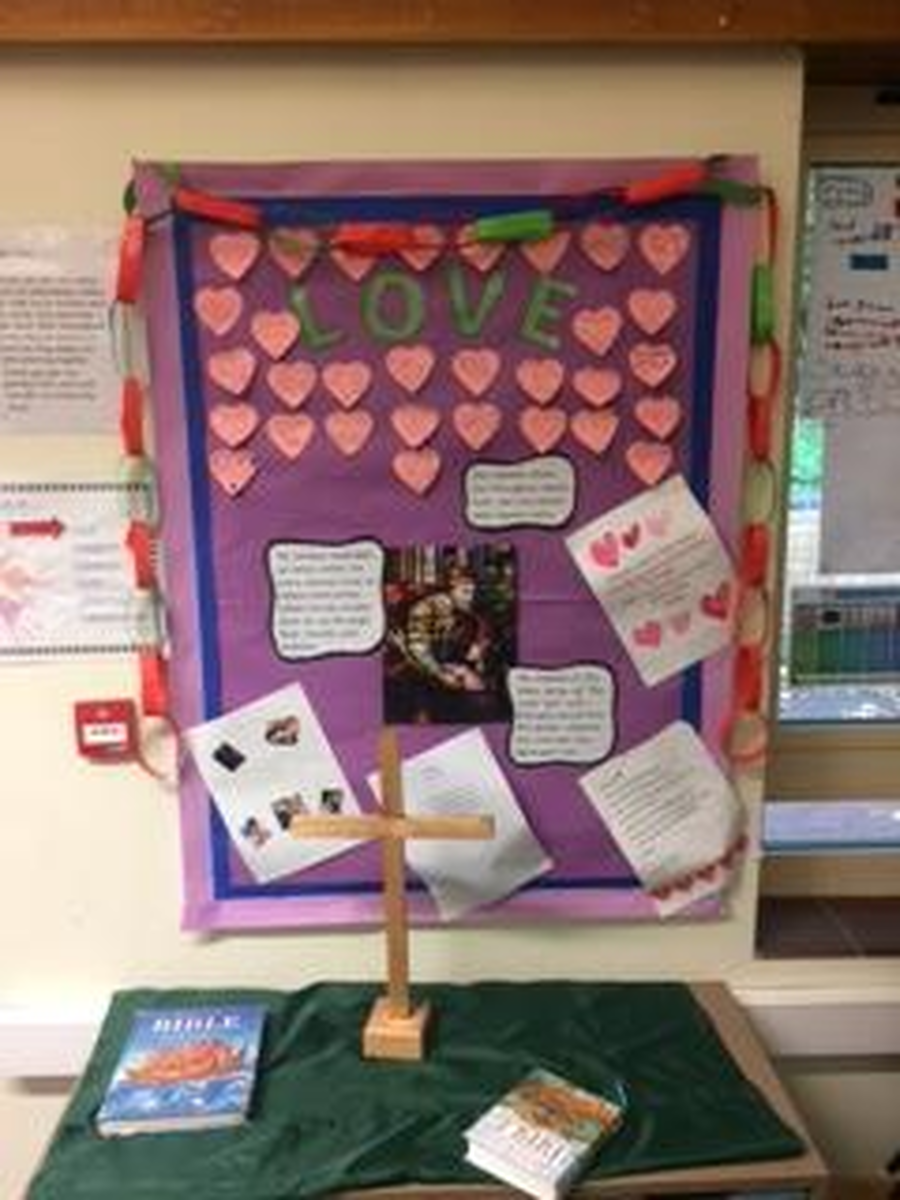 Our 'Love' display board where we have all contributed a time when we have felt or shown love to others.