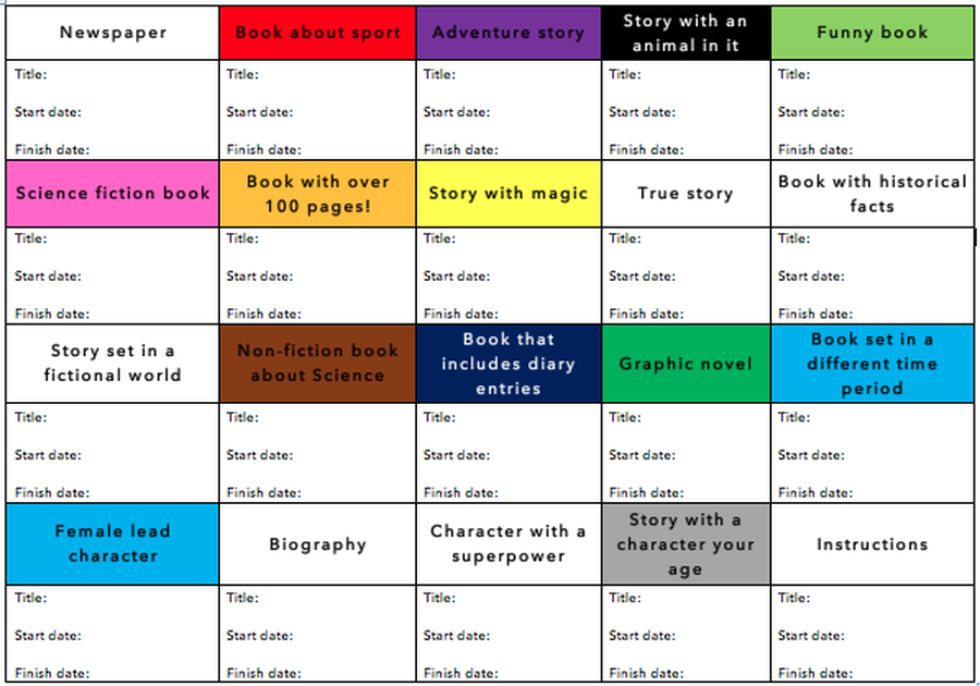 This is the wonderful 'Book Bingo' to help you/your child read a wider variety of texts. See if you can get this started at home to not only increase the variety of texts that you/your child gets to digest, but also improve your/your child's vocabulary and consequently, your/their writing!